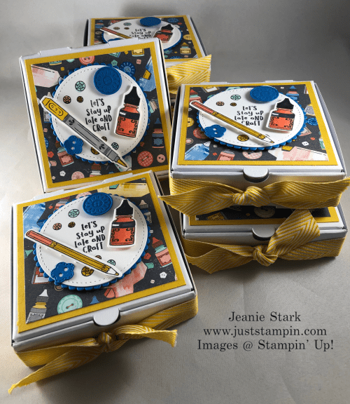 Stampin' Up! It Starts with Art stamp set and Follow Your Art Designer Series Paper Mini Pizza Boxes treat idea - Jeanie Stark StampinUp