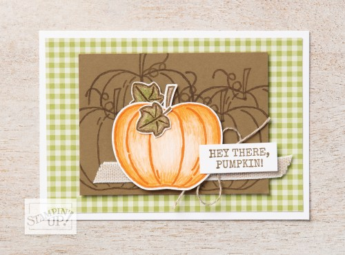 Stampin' Up! Harvest Hellos Stamp Set and Apple Builder Punch Fall pumpkin card idea - For more inspiration visit juststampin.com - Jeanie Stark StampinUp