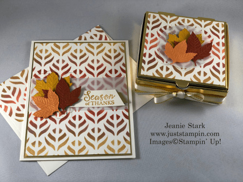 Stampin' Up Gather Together Bundle with Decorative Mask technique Thanksgiving or Thank You card idea - Jeanie Stark StampinUp