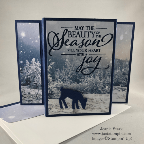 Stampin' Up! Merry Christmas To All stamp set with Feels Like Frost Designer Series Paper Fun Fold Christmas card idea - Jeanie Stark StampinUp