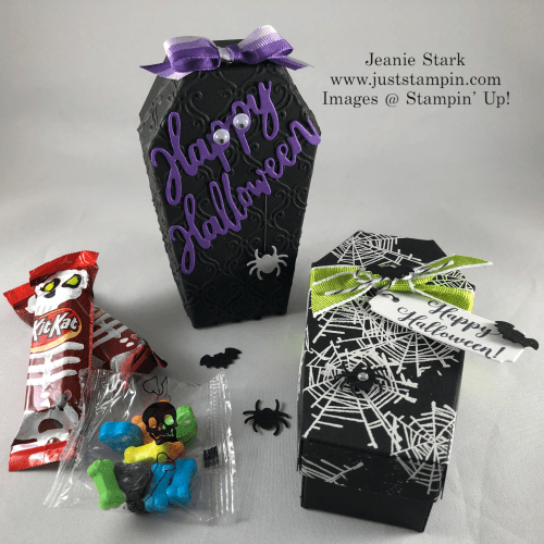 Stampin' Up! Coffin Treat Boxes and Wonderfully Wicked Stamp Set and Dies Halloween treat ideas - Jeanie Stark StampinUp