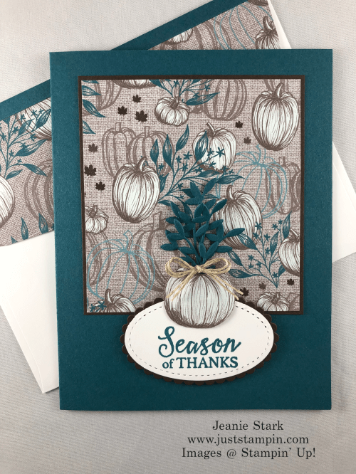 Stampin' Up! Gather Together Clean & Simple Thanksgiving or Thank You card idea - Jeanie Stark StampinUp