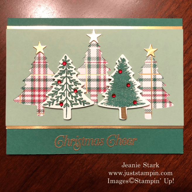 Stampin\' Up! Perfectly Plaid stamp set and Pine Tree Punch Christmas card idea - Jeanie Stark StampinUp