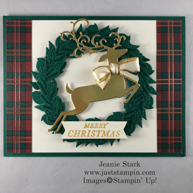 Stampin\' Up! Tidings All Around and Detailed Deer Christmas wreath card idea with Wrapped in Plaid Specialty Designer Series Paper - Jeanie Stark StampinUp
