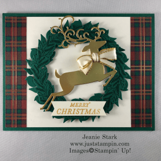 Stampin' Up! Tidings All Around and Detailed Deer Christmas wreath card idea with Wrapped in Plaid Specialty Designer Series Paper - Jeanie Stark StampinUp