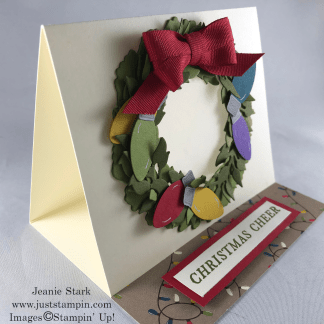 Stampin' Up! TIdings All Around Bundle and Christmas Bulb Builder Punch fun fold Christmas wreath card idea - Jeanie Stark StampinUp