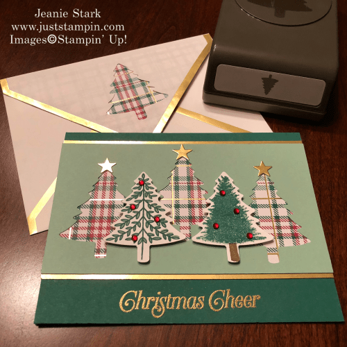 Stampin' Up! Perfectly Plaid stamp set and Pine Tree Punch Christmas card idea - Jeanie Stark StampinUp