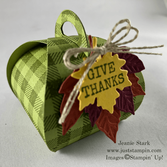 Stampin\' Up! Gathered Leaves and Mini Curvy Keepsakes Box Dies Fall or Thanksgiving treat holder idea - Jeanie Stark StampinUp