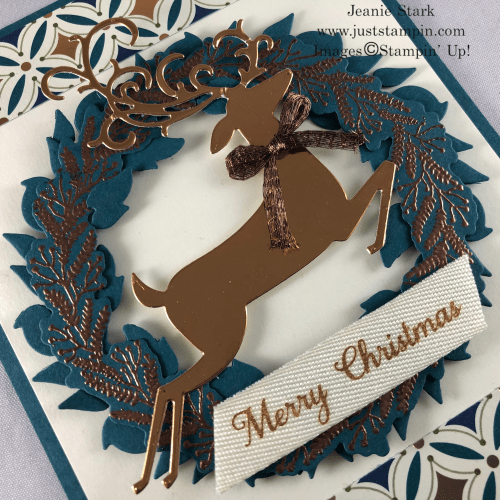 Stampin' Up! Tidings All Around and Detailed Deer Christmas wreath card idea with Brightly Gleaming Specialty Designer Series Paper - Jeanie Stark StampinUp