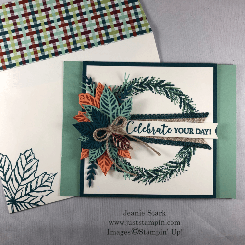Stampin' Up Gathered Leaves Dies and Tidings All Around Wreath fun fold fall birthday card idea for fall - Jeanie Stark StampinUp