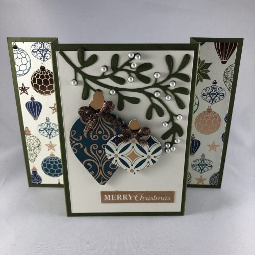 Christmas Gleaming Fun Fold Christmas card idea - Jeanie Stark StampinUp