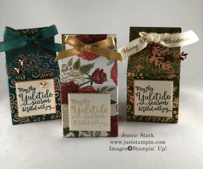 Stampin Up! Greatest Part of Christmas stamp set and Designer Series Paper Box Idea for Yankee Candle votives - Jeanie Stark StampinUp