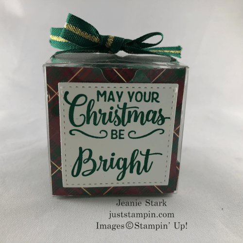 Stampin Up! Making Christmas Bright Clear Treat Box Yankee candle gift idea with Designer Series Paper - Jeanie Stark StampinUp