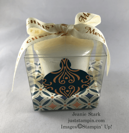 Stampin Up! Christmas Gleaming Clear Treat Box candle gift idea with Designer Series Paper - Jeanie Stark StampinUp