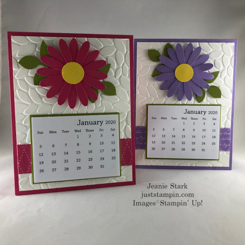 Stampin' Up! Calendar Card idea made with Daisy Punch and Petal Burst Embossing Folder - Jeanie Stark StampinUp