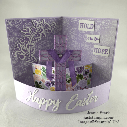 Stampin Up Best Dressed Hold On To Hope fun fold Easter card idea - Jeanie Stark StampinUp - Jeanie