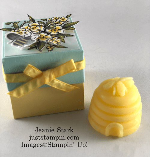 Stampin' Up! Bird Ballad Honey Bee explosion box tea light gift idea - Jeanie Stark StampinUp