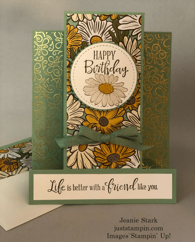 Stampin\' Up! Peaceful Moments Fun Fold Birthday card idea with Ornate Garden DSP - Jeanie Stark StampinUp