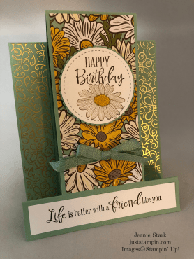 Stampin' Up! Peaceful Moments Fun Fold Birthday card idea with Ornate Garden DSP - Jeanie Stark StampinUp