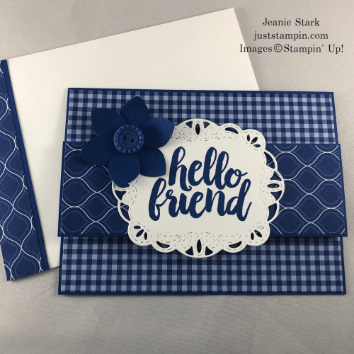 Stampin' Up! Honey Bee Stamp Set, Perennial Punch, and Stitched Labels Dies 2018-2020 In Color Blueberry Bushel fun fold friend card idea - Jeanie Stark StampinUp