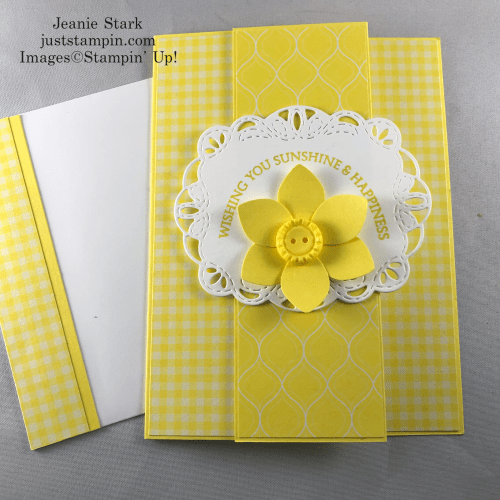 Stampin' Up! Honey Bee Stamp Set, Perennial Punch, and Stitched Labels Dies 2018-2020 In Color Pineapple Punch fun fold all occasion card idea - Jeanie Stark StampinUp