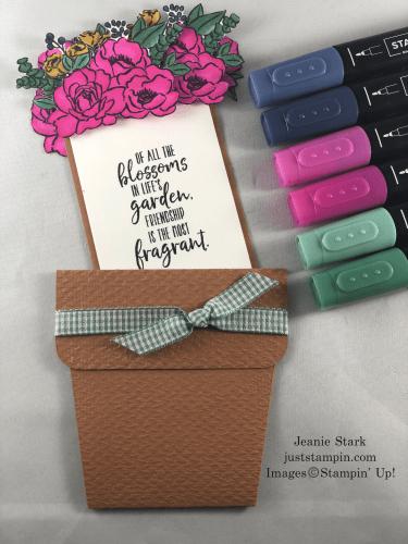 Stampin' Up! Jar of Flowers and Grace's Garden In Color flower pot pocket card - Jeanie Stark StampinUp