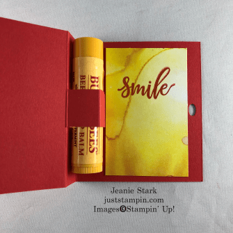 Stampin' Up! Box of Sunshine alternative idea for a lip balm holder - Jeanie Stark StampinUp