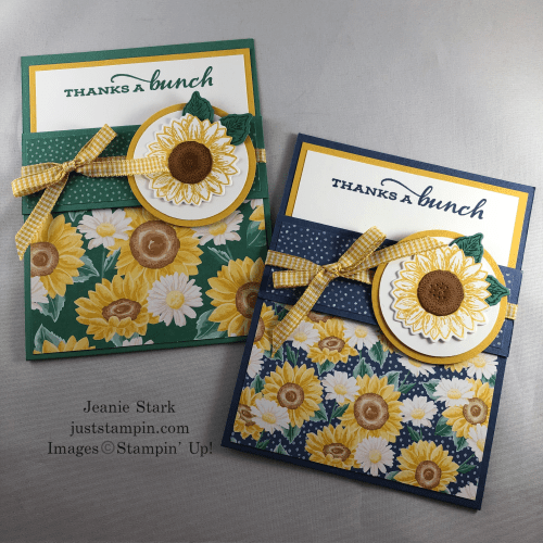 Stampin' Up! Celebrate Sunflowers fun fold thank you card idea - Jeanie Stark StampinUp