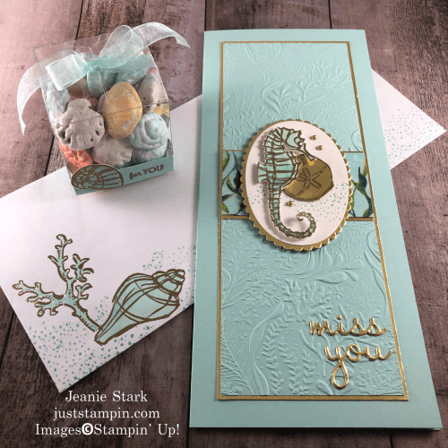 Stampin' Up! Seaside Notions and Well Written Dies slimline card and gift idea for any occasion - Jeanie Stark StampinUp