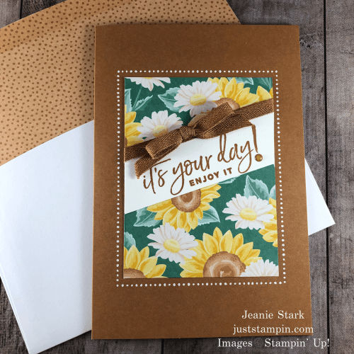 Stampin' Up! Flowers For Every Season Memories & More birthday card idea using Happiest Of Birthdays stamp set - Jeanie Stark StampinUp