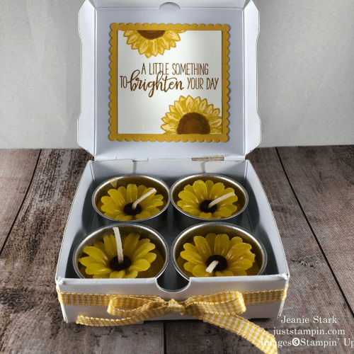 Stampin' Up! Celebrate Sunflowers Mini Pizza Box gift idea for a friend - Jeanie Stark StampinUp