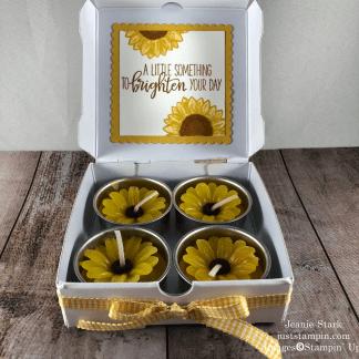 Stampin' Up! Celebrate Sunflowers Mini Pizza Box gift idea for a friend - Jeanie Stark StampinUp
