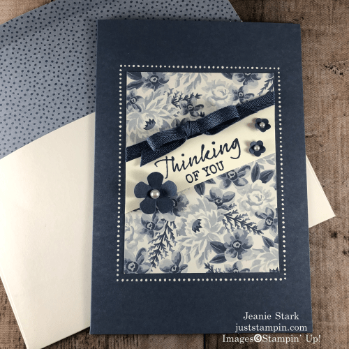 Stampin' Up! Flowers For Every Season Memories & More thinking of you card idea using Seaside Notions stamp set - Jeanie Stark StampinUp