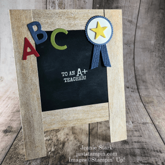 Stampin' Up! Harvest Hellos and Playful Alphabet Dies thank you card idea for a teacher -Jeanie Stark StampinUp