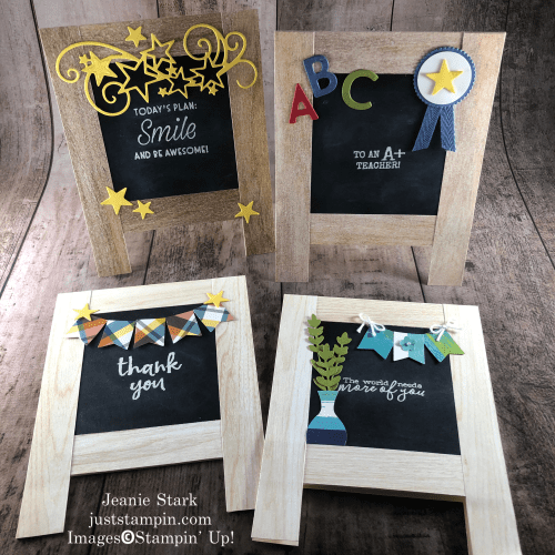 Stampin' Up! In Good Taste thank you and inspirational chalkboard easel card card ideas for teachers or students - Jeanie Stark StampinUp