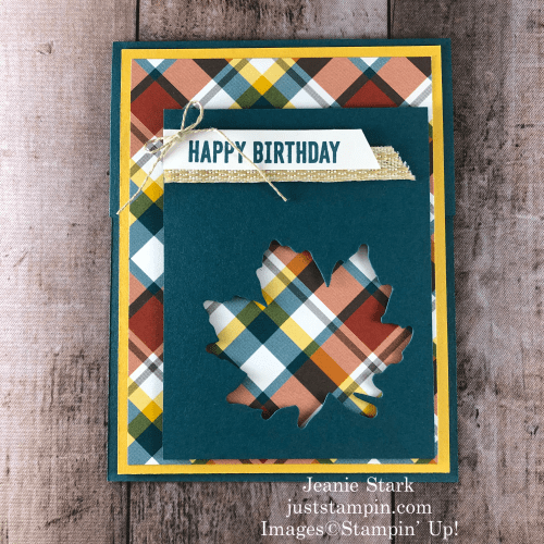 Stampin' Up! Itty Bitty Birthdays, Gathered Leaves, and Plaid Tidings fall birthday card idea - Jeanie Stark StampinUp