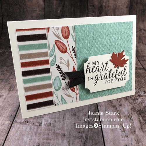 Stampin' Up! Beautiful Autumn thank you note card idea with Gilded Autumn Specialty Designer Series Paper - Jeanie Stark StampinUp