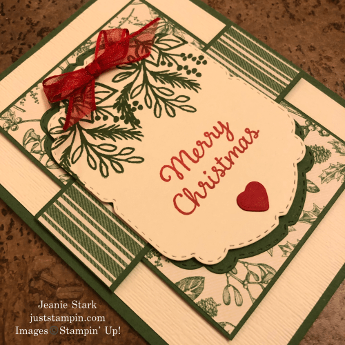 Stampin' Up! Celebration Tidings Christmas card idea with Toile Tidings Designer Series Paper - Jeanie Stark StampinUp