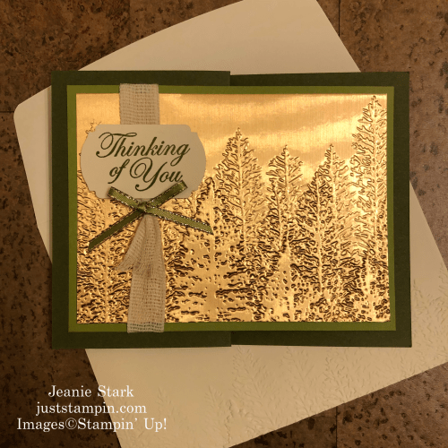 Stampin' Up! Evergreen Forest Brushed Metallic Embossed Thinking of You fun fold card idea - Jeanie Stark StampinUp