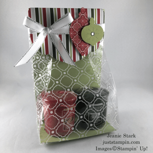 Stampin' Up! Celebration Labels Dies and Ornament Punch Pack Mosaic Gusseted Cellophane Bag Christmas gift idea - Jeanie Stark StampinUp