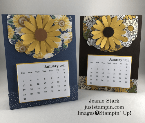 Stampin' Up! Celebration Label Dies and Daisy Punch calendar card idea - Jeanie Stark StampinUp