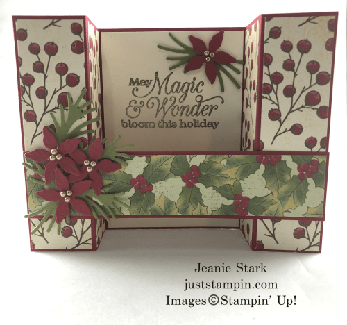 Stampin' Up! Poinsettia Petals fun fold Christmas card idea - Jeanie Stark StampinUp