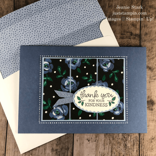 Stampin' Up! Oval Occasions thank you card idea with Flower & Field Designer Series Paper and Memories & More cards & envelopes - Jeanie Stark StampinUp