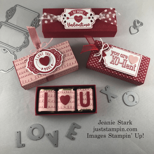 Stampin' Up! Playful Alphabet and Trio of Tags Hershey Nugget Slider Box ideas - Jeanie Stark StampinUp