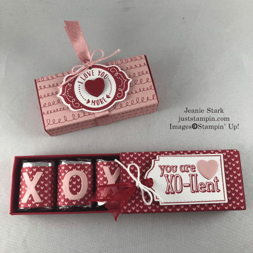 Stampin' Up! Playful Alphabet and Trip of Tags Hershey Nugget Box idea with Snail Mail Designer Series Paper - Jeanie Stark StampinUp