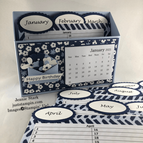 Stampin' Up! Paper Blooms and Pierced Blooms Perpetual Birthday Calendar Box idea - Jeanie Stark StampinUp