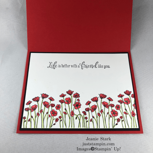 Stampin' Up! Peaceful Moments Birthday card idea with Flower & field Designer Series Paper and Poppy Moments Dies - Jeanie Stark StampinUp