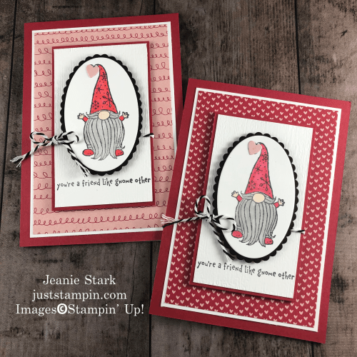 Stampin' Up! Gnome For The Holidays Valentine's Day card idea for a friend - JeanieStark StampinUp