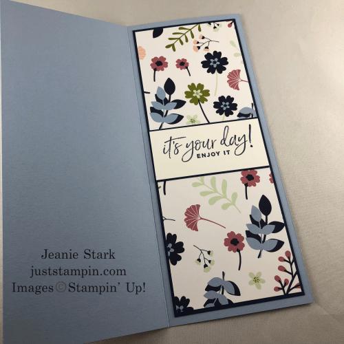 Stampin' Up! Paper Blooms slimline birthday card idea - Jeanie Stark StampinUp