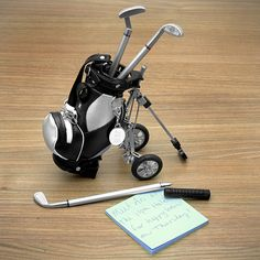Golf bag with pens - visit juststampin.com for more information and handmade golf them projects - Jeanie Stark StampinUp
